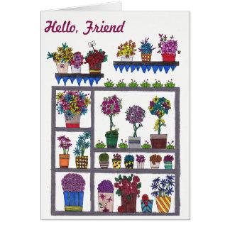 Plantes et fleurs sur la carte d'amitié d'étagères