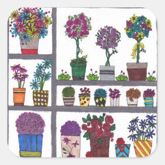 Plantes sur l'autocollant carré d'étagères sticker carré