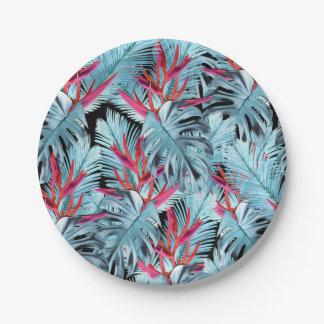 Plantes tropicales 1. feuille, palmettes, paume, assiettes en papier