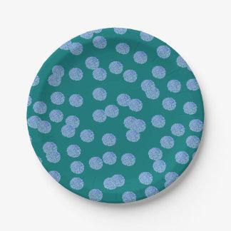 """Plaque à papier 7"""" de pois bleu assiettes en papier"""