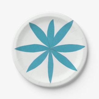 Plaque à papier avec une étoile de turquoise assiettes en papier