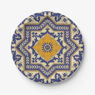 Plaque à papier bleue de style en céramique assiettes en papier