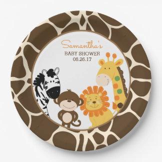 Plaque à papier d'animaux de safari de jungle assiettes en papier
