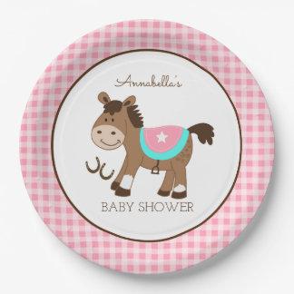 Plaque à papier de cheval de fille de thème assiettes en papier