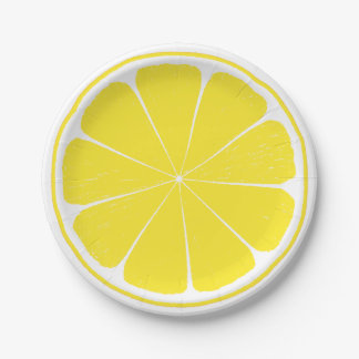 Plaque à papier de citron de tranche jaune assiettes en papier
