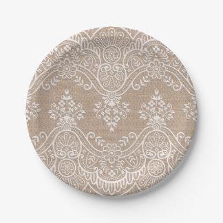 Plaque à papier de dentelle et de toile de jute assiettes en papier