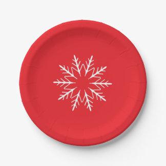 Plaque à papier de flocon de neige assiettes en papier