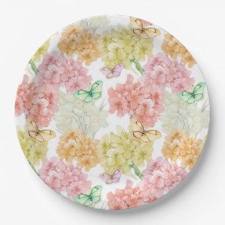 Plaque à papier de jardin floral en pastel de assiettes en papier
