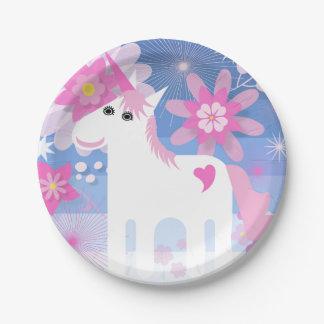 Plaque à papier de licorne assez rose assiettes en papier
