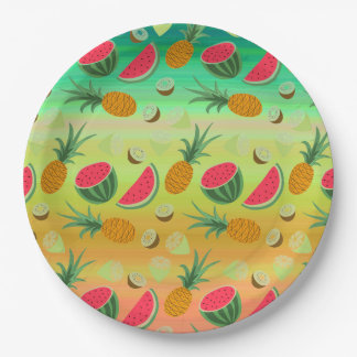 Plaque à papier de pastèque de fruit tropical assiettes en papier