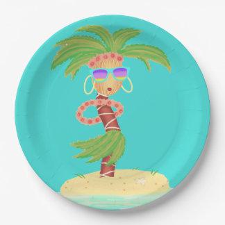 Plaque à papier de paume de danse polynésienne assiettes en papier