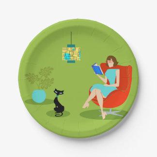 Plaque à papier de rétro femme de lecture assiettes en papier