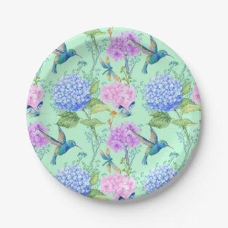 Plaque à papier florale de colibri de papillon de assiettes en papier