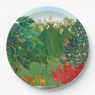Plaque à papier florale de jungle de cascade de assiettes en papier