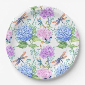 Plaque à papier florale de papillon de libellule assiettes en papier
