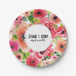 Plaque à papier florale personnalisable de Bohème Assiettes En Papier