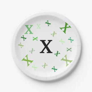 Plaque à papier - lettres brouillées en verts assiettes en papier
