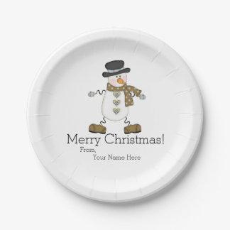 Plaque à papier lunatique de Joyeux Noël de Assiettes En Papier