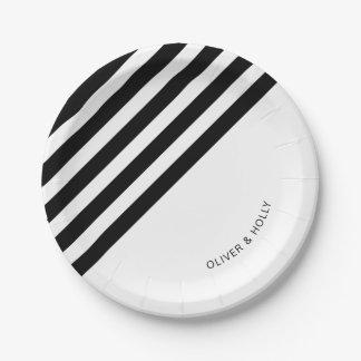 Plaque à papier rayée noire et blanche assiettes en papier