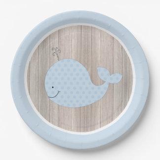 Plaque à papier rustique de baleine bleue assiette en papier 22,8 cm