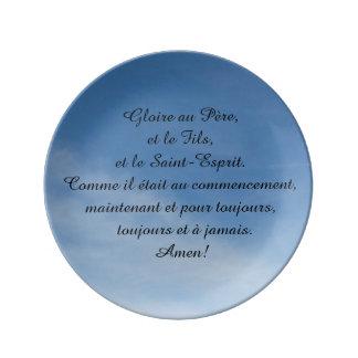 Plaque de porcelaine, avec discours en français assiettes en porcelaine
