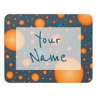 Plaque De Porte Bulles oranges. Ajoutez votre texte de nom ou de
