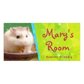 Plaque De Porte Hammyville - hamster mignon étoilé
