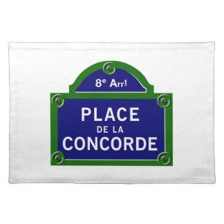 Plaque de rue de Place de la Concorde, Paris Set De Table