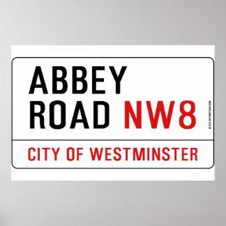 Plaque de rue de route d'abbaye poster
