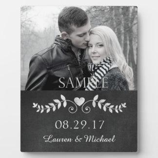 Plaque de souvenir de photo de mariage de coeur de plaques d'affichage