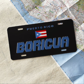 Plaque D'immatriculation Noir, drapeau de P.R., Porto Rico