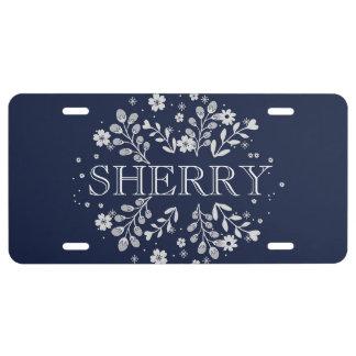 Plaque D'immatriculation Plaque minéralogique florale de bleu marine