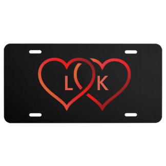 Plaque D'immatriculation Plaque minéralogique noire de coeur