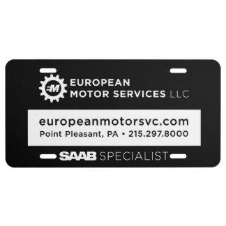 Plaque D'immatriculation Services européens de moteur, plat de vanité avant