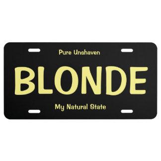 Plaque minéralogique blonde drôle