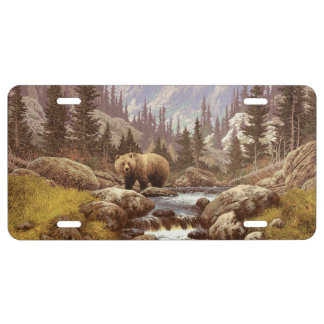 Plaque minéralogique de paysage d'ours gris