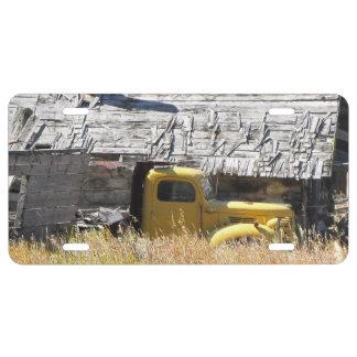 Plaque minéralogique jaune de camion
