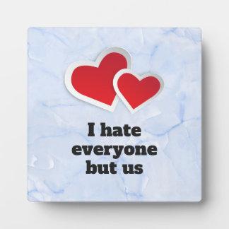 Plaque Photo 2 coeurs rouges - je déteste chacun mais nous
