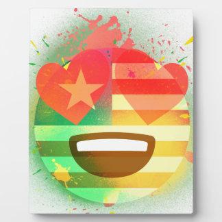 Plaque Photo Aimez l'art de peinture de jet d'Emoji de drapeau