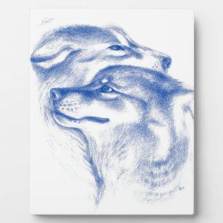Plaque Photo Alpha art d'amour de loups
