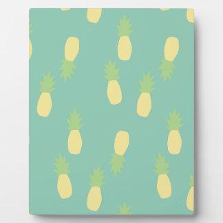 Plaque Photo Ananas arrière exotique bleu en pastel d'amour de
