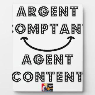 Plaque Photo Argent Comptant Agent Content