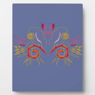 Plaque Photo Argent élégant de rouge de henné de conception