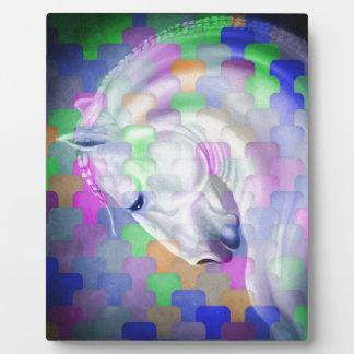Plaque Photo Art équin de cubisme d'arc-en-ciel