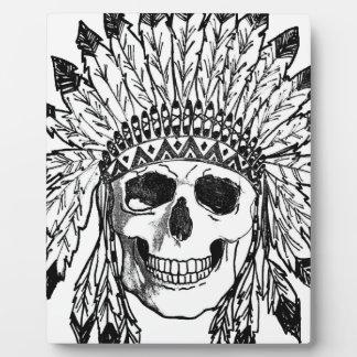 Plaque Photo Art indigène de visage de crâne