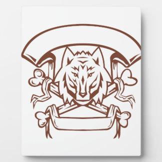 Plaque Photo Bannière croisée d'os de loup rétro