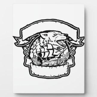 Plaque Photo Bannière de bateau de pirate de loup rétro