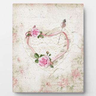 Plaque Photo Beau coeur vintage de dentelle, fleurs,