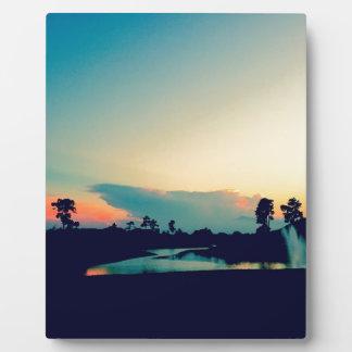 Plaque Photo Belle photo de coucher du soleil
