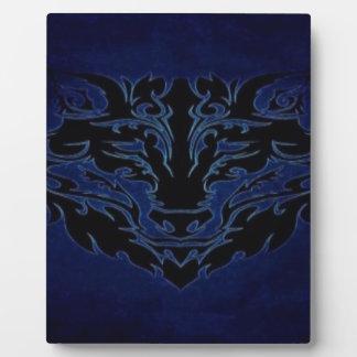 Plaque Photo Bleu tribal de loup
